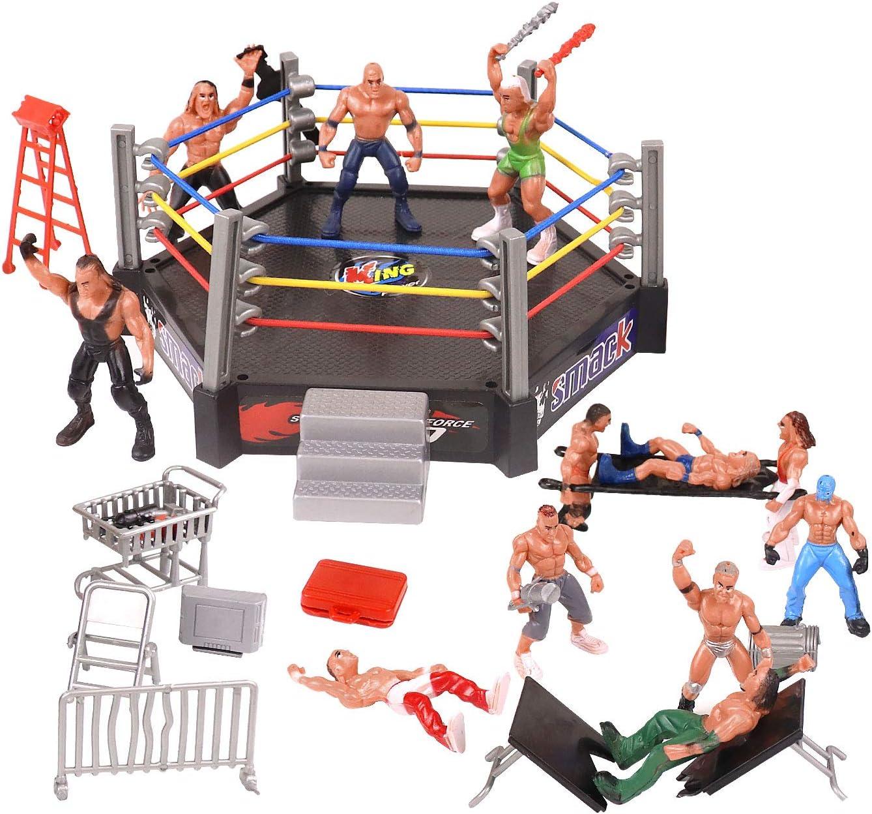 YIJIAOYUN 32pcs Mini Wrestling Playset Incluye 12 Figuras de acción en Miniatura, Jugadores de Lucha y múltiples Accesorios realistas para niños, niños