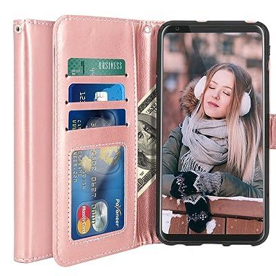 LK LG V30 Funda, Carcasa Cubierta Cuero Billetera Case Flip Cover Con Ranuras de Tarjeta - Oro rosa