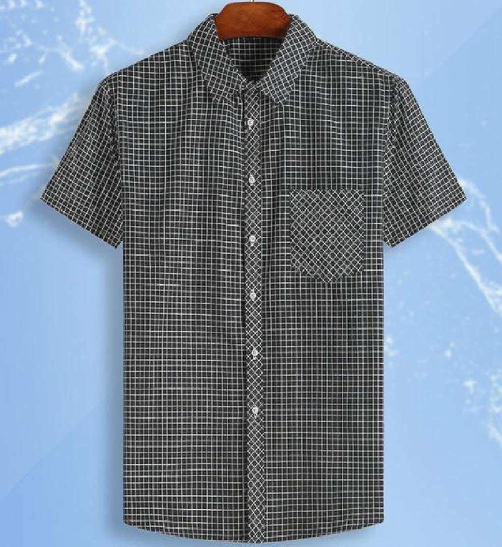 VITryst-Men Lapel Plaid Pattern Silm Fit Half Sleeve Plus Size Work Shirt