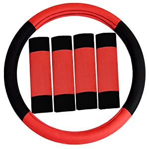 FH Group FH2033RED Steering Wheel Cover (Modernistic and Seat Belt Pads Combo Set Red)