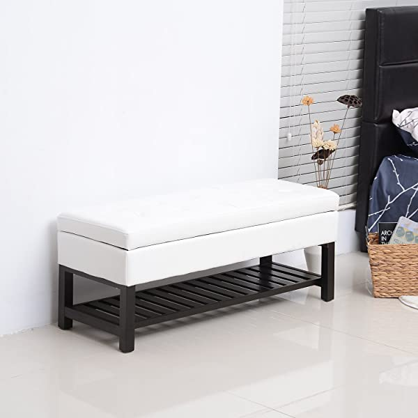 "HOMCOM 44"" Tufted Faux Leather Ottoman Storage Bench with Shoe Rack - White"