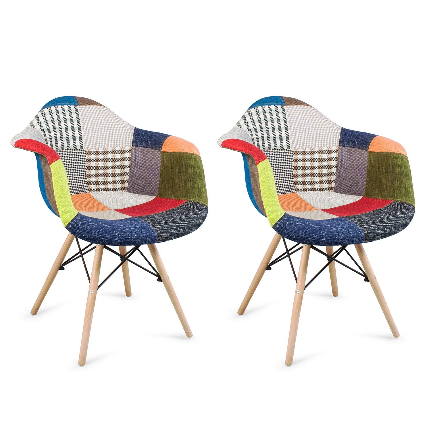 Patchwork Chair Fabric Retro Armchair Set of 2 Multicolor Eiffel Dining Chair Office Chair Vintage Chair with Wood Leg for Living Room Bedroom Dining Room Set Home Office Furniture patchwork chair*2