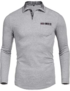 696e61d9 Daupanzees Men's Classic Casual Long Sleeve Plaid Collar Jersey Polo Shirt