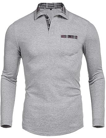 cc279d86757 Daupanzees Men s Classic Casual Long Sleeve Plaid Collar Jersey Polo Shirt  (Gray