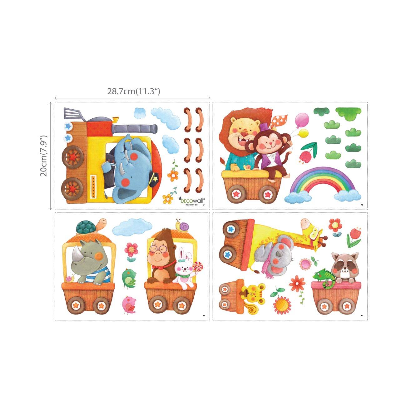DECOWALL DA-1406A Treni con Animali Adesivi da Parete Decorazioni Parete Stickers Murali Soggiorno Asilo Nido Camera da Letto per Bambini