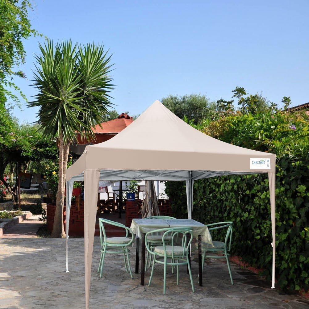 Quictent Silvox 10×10 Ez Pop Up Canopy Tent Outdoor Gazebo with Sidewalls and Roller Bag Waterproof Beige