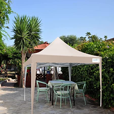 Quictent Silvox 10×10 Ez Pop Up Canopy Tent Outdoor Gazebo with Sidewalls and Roller Bag Waterproof Beige