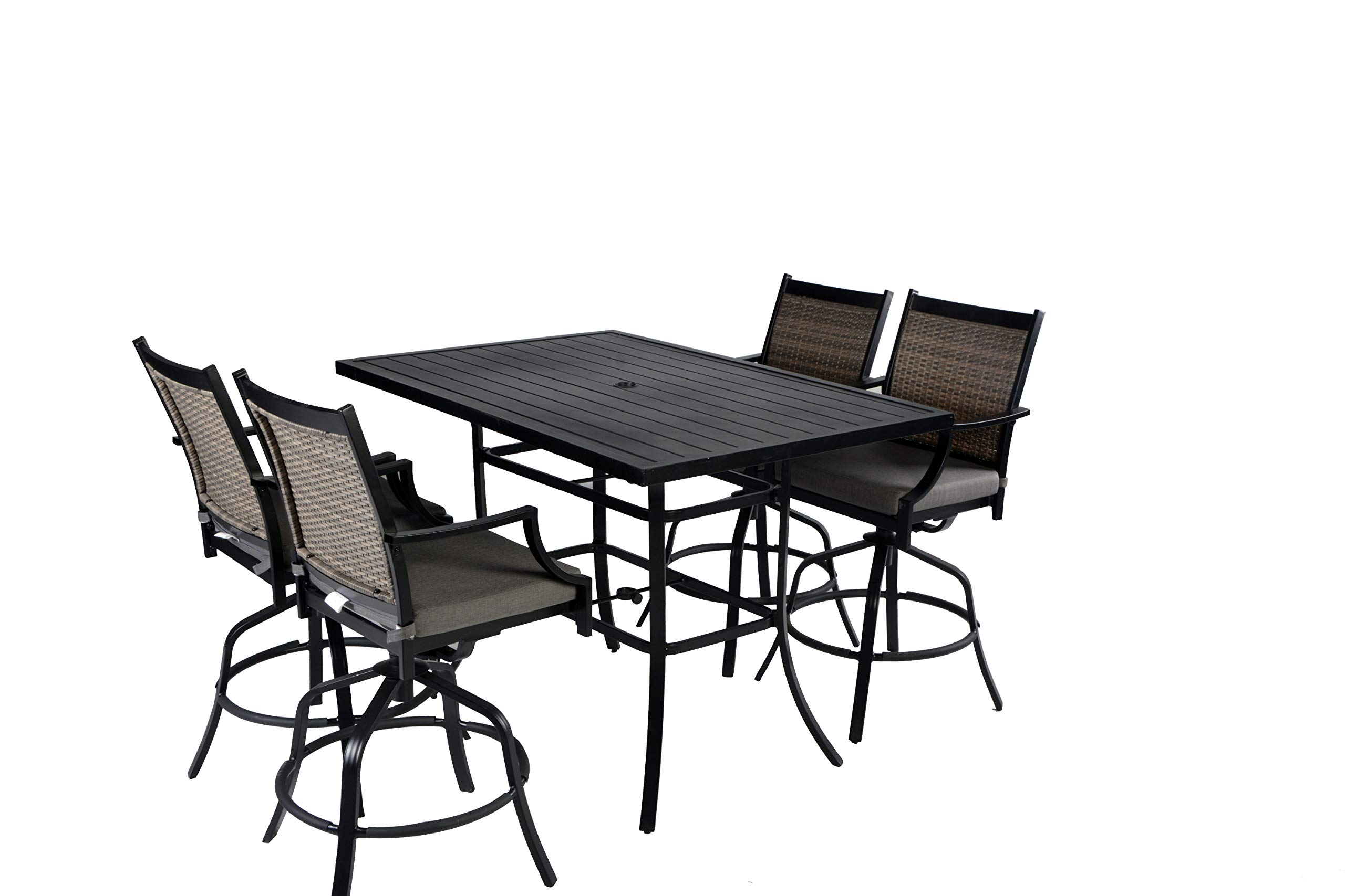 Pebble Lane Living All Weather Rust Proof Indoor/Outdoor 5pc Powder Coated Aluminum Patio Bar Dining Set, 1 Slat Top Bar Table & 4 Swivel Wicker Bar Arm Stools with All Season Cushions, Black/Grey