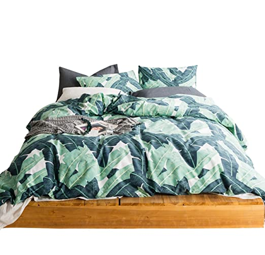 Susybao 3 Pieces Duvet Cover Set 100 Percents Natural Cotton Queen Size Green Tropical Botanical Print Bedding Set With Zipper Ties 1 Duvet Cover 2 Pillowcases Hotel Quality Soft Comfortable Easy Care Durable by Susybao
