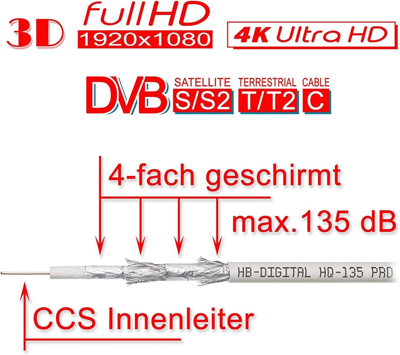 S2X DVB-C y DVB-T T2 BK UHD 4K Full HD 3D HB-DIGITAL HQ-135 PRO 135 dB Cable SAT coaxial 4x blindado con pelacables y cable de antena con conector F chapado en oro para sistemas DVB-S S2