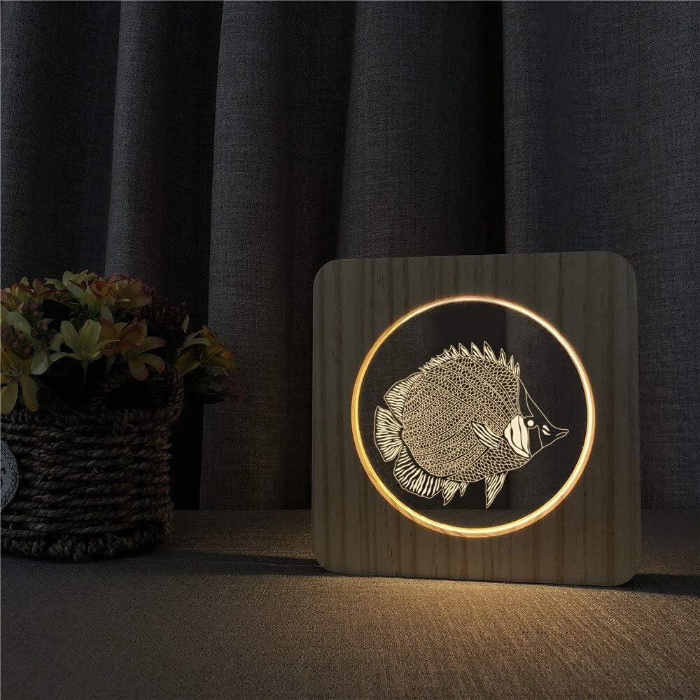 Ocean Sea Fish acrílico Madera luz de Noche lámpara de Mesa Interruptor de Control lámpara de Grabado para Amigo Ventilador Regalo