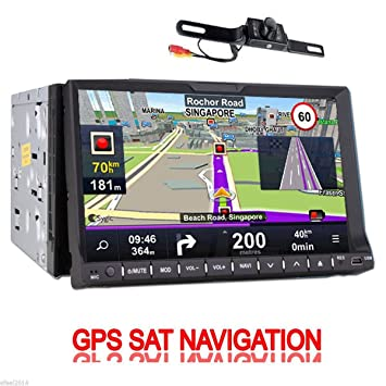 Amazon.com: Cámara trasera incluida navegación GPS 2 DIN en ...