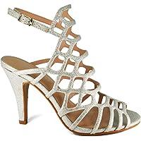 GottaBe Shoes Women's Cutout Caged Stiletto High Heel Dress Sandal Fashion Look