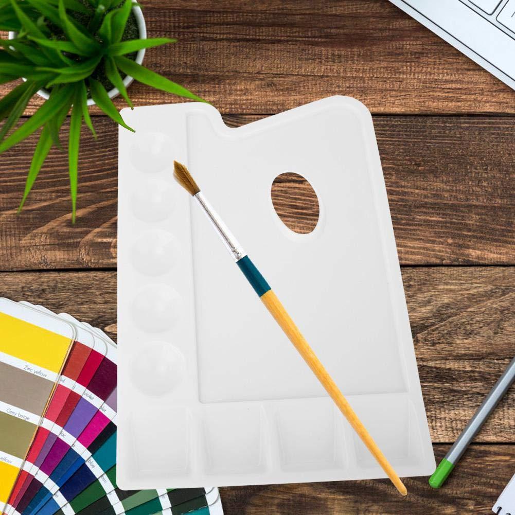 Rect/ángulo blanco Paleta de pintura Pl/ástico PVC Engrosamiento Paleta Pozos para acuarela Acr/ílico Pintura al /óleo Colores de mezcla Soporte lavable para artistas de artesan/ía fina