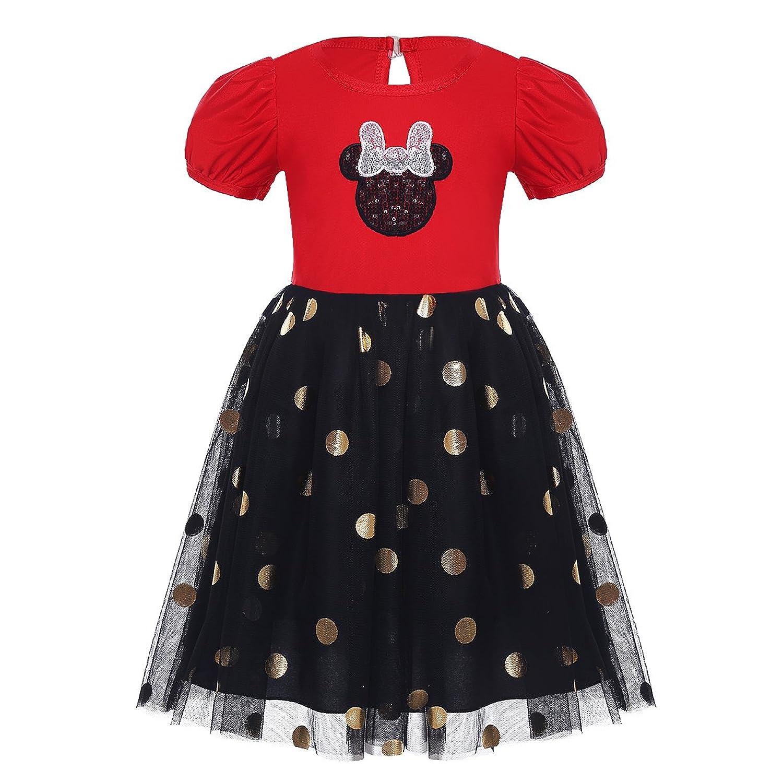 10c92ff69c8f1 iEFiEL Bébé Fille Robe De Princesse Tutu Rouge Robe de Noël Costume à Pois  Déguisement Halloween