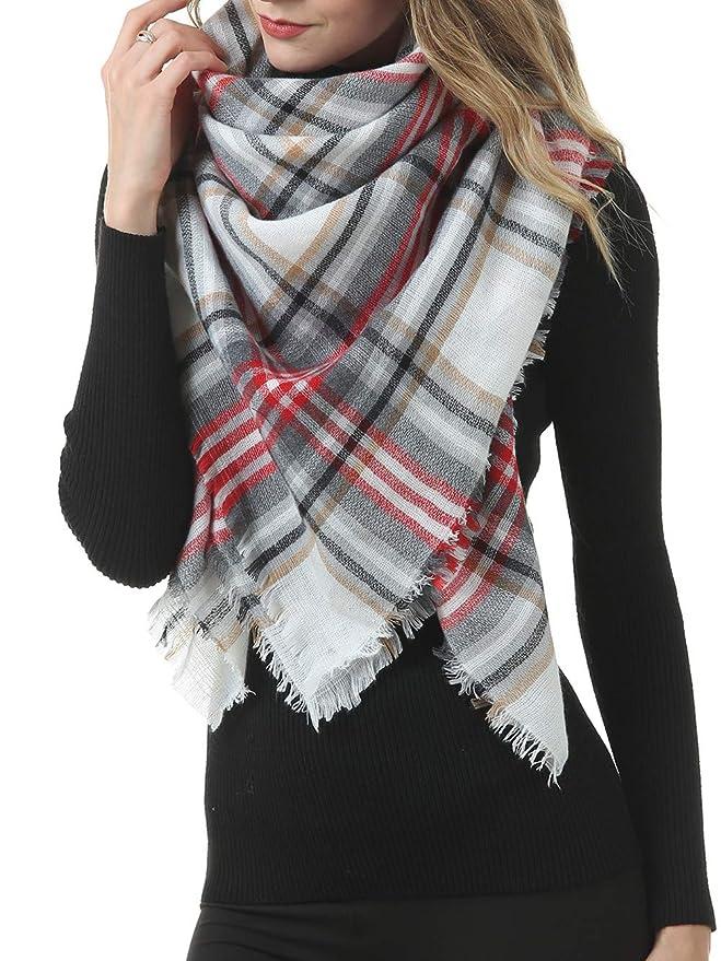 Bestgift Womens Long Scarf Shawl Plaid Wrap Warm Stole Black+White One Size