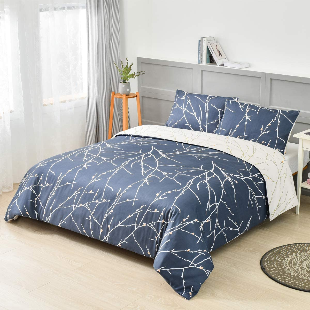 1 Fitted Sheet Shrinkage and Fade Resistant Soft Brushed Microfiber Fabric 3 Piece Bedding and 2 Pillowcases xuan dian Printed Bed Sheet Set