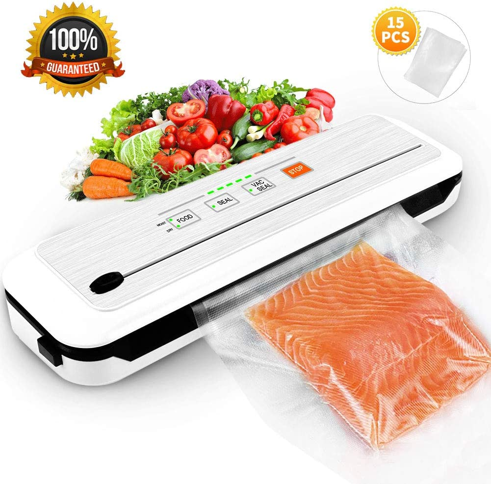 Vacuum Sealer Machine for Food Preservation/Automatic food sealer machines|Dry & Moist Modes|Led Indicator Lights|UL Safety Certified| Suitable for Use in Camping and Home, with 15 Pcs Vacuum Bags.