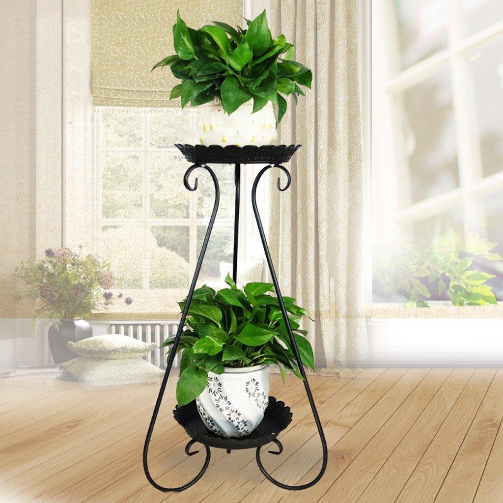 CJH Im europäischen Stil Blumen Schmiedeeisen mehrstöckigen Boden Flowerpot Indoor Wohnzimmer grüne Blume Regal Balkon Balkon Orchidee Blume stehen ( Color : Black )