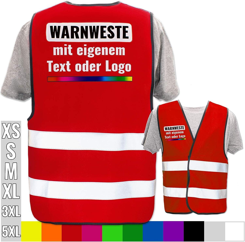 Warnweste selbst gestalten mit eigenem Aufdruck Farbe /& Gr/ö/ße:Schwarz//Gr/ö/ße XL//XXL Bedruckt mit Name Text Bild Logo Firma Position /& Druckart:R/ücken//Premium-Druck