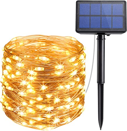Solar Powered String Light 100 LED Copper Wire Lawn Lights Waterproof Decor Lamp