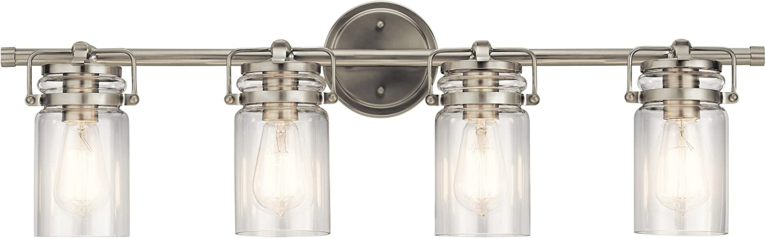 Kichler 45690ni Brinley Vanity 4 Light 300 Total Watts Brushed Nickel