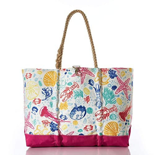 The Sea Bags Recycled Sail Cloth Multicolor Marine Life Ogunquit Beach Tote travel product recommended by Kristan Vermeulen on Lifney.