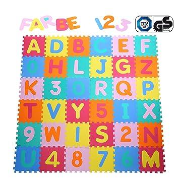 Yorbay Puzzle Tapis Mousse Bebe Souple Alphabets Chiffres 32x32 Cm
