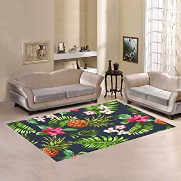 InterestPrint Vintage Tropical Flowers With Pineapple Area Rug 7 X 5 Feet,  Dark Blue Fruit