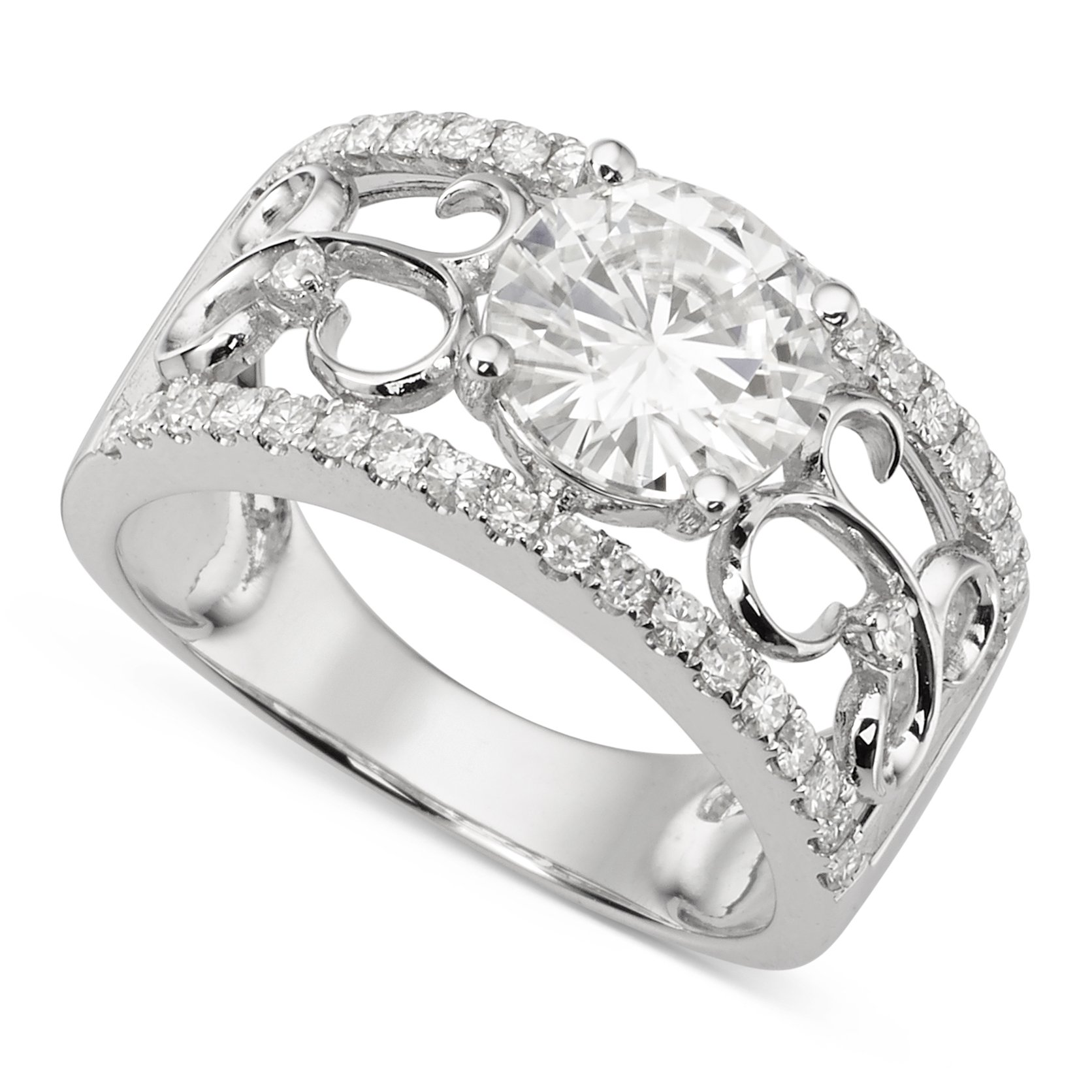 Forever Brilliant White Gold Round 8.0mm Moissanite Ring size 6, 2.28cttw DEW By Charles & Colvard by Charles & Colvard