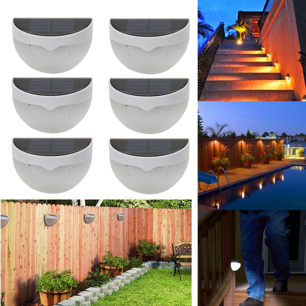 FClearup1991 Lot6 Outdoor Solar Power 6 LED Sensor Garden Light Wall Fence Lamp Waterproof