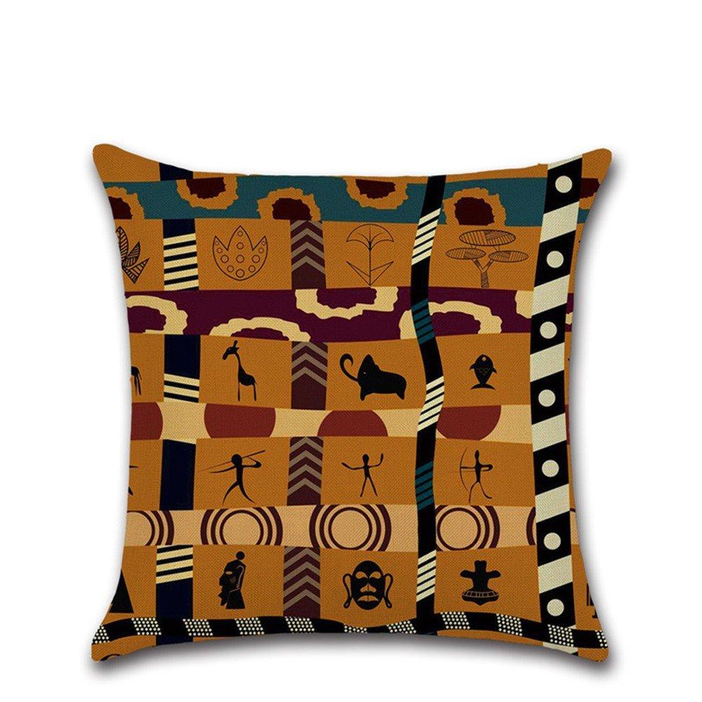Excelsio Afrique ancien style ethnique Housses de coussin Housse pour canapé lit Salon Chambre à coucher Home Decor, personnalisé carré en coton et lin Taie d'oreiller Housses de coussin 45x 45cm/45,7x 45,7cm