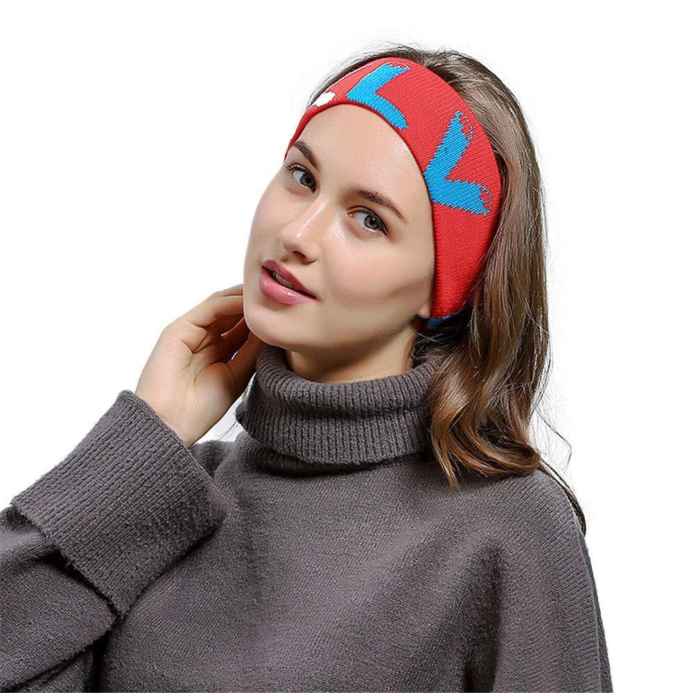 HULKAY Unisex Hair ball Knitting Headband Outdoor Minimalist Sports Style(Red)