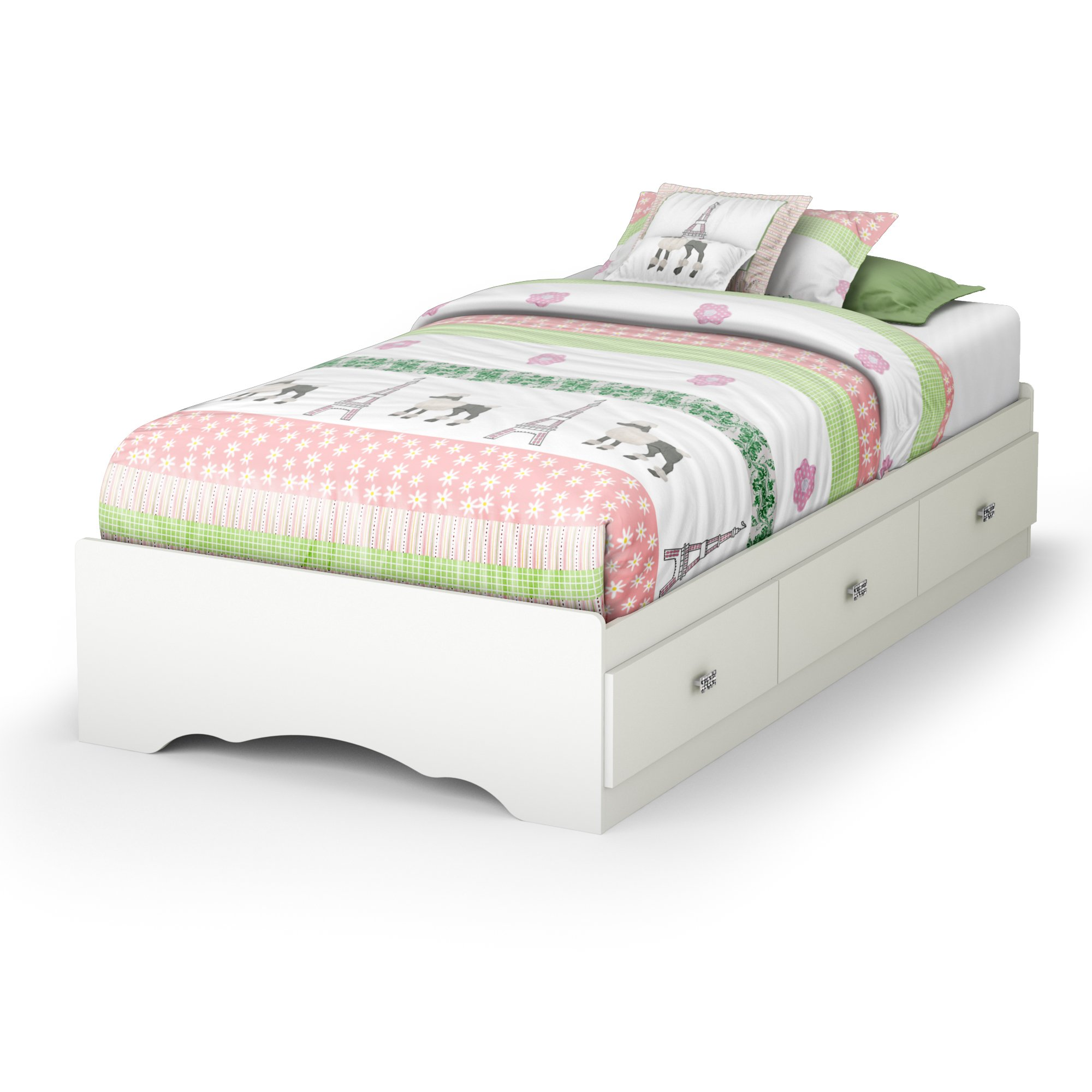 Tiara Collection Twin Bed with Storage - Platform Bed with 3 Drawers - Pure White by South Shore