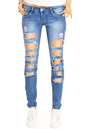 bestyledberlin damen rohrenjeans super trashed skinny jeans extrem zerrissene denim hosen j14k amazon de bekleidung