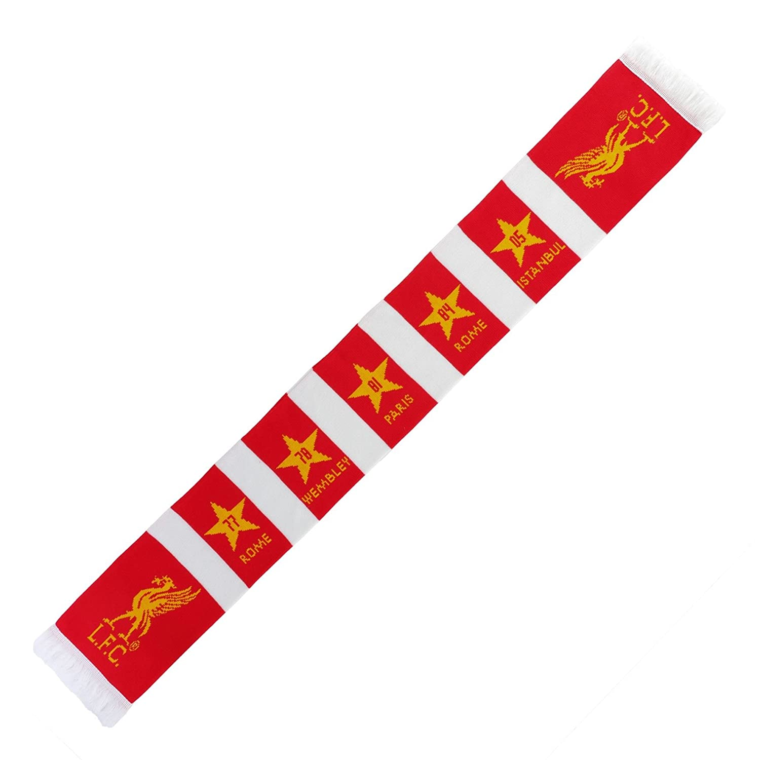 Liverpool FC LFC Red White Acrylic Liverbird European Scarf NWT Official