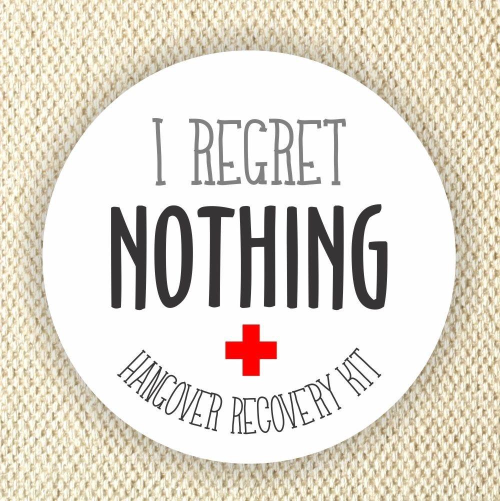 Bachelorette Hangover Kit Stickers - Thank You Stickers - Wedding Stickers - I Regret Nothing Stickers