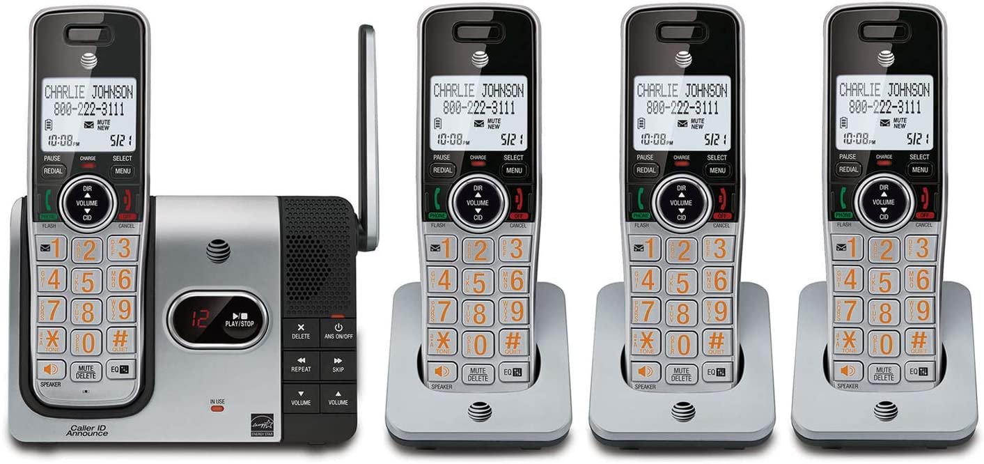 AT&T CL82414 DECT 6.0 Expandable Cordless Phone with Answering System and Caller ID, Silver/Black 4 Handsets