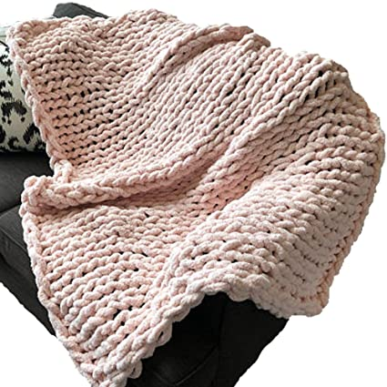 Amazon Com Chunky Knit Blankets 100x150cm Hand Knitted Soft Baby
