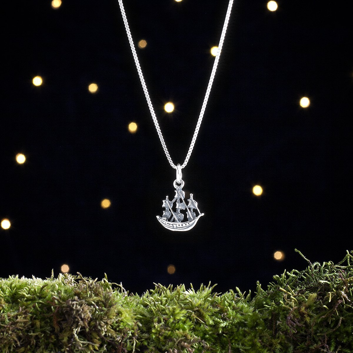 Sterling Silver Pirate Ship - Small, 3D Double Sided - (Charm Only or Necklace)