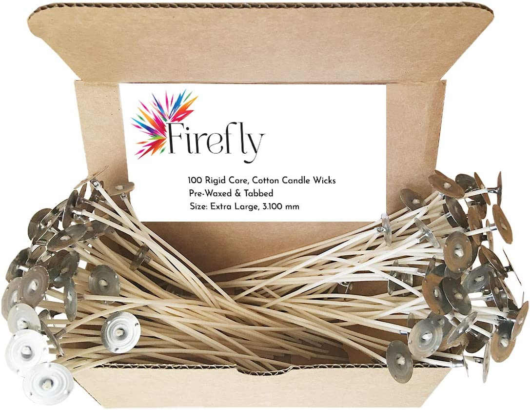 Firefly 6-Inch Cotton Candle Wicks for Candle Making Size: Small Ultra-Rigid for Soy Beeswax Container Candles Natural Paraffin 100 Pack Made in USA Pre-Waxed