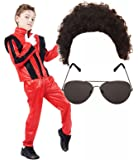 Boys Michael Jackson 80s Fancy Dress Costume with Wig & Glasses (10-12 years)