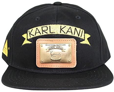 Karl Kani Gold Plate Snapback Embroidered Hat Black White Red Tan at ... d5e4d8ddae8