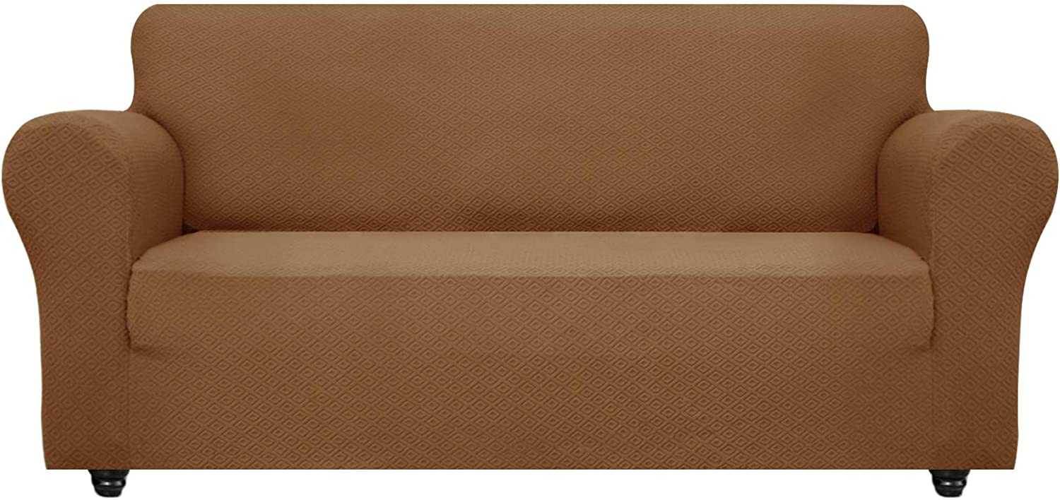 OBYTEX Stretch Sofa Cover Jacquard Spandex Couch Covers Dog Cat Pet Slipcovers Furniture Protectors, Machine Washable (Large, Light Brown)