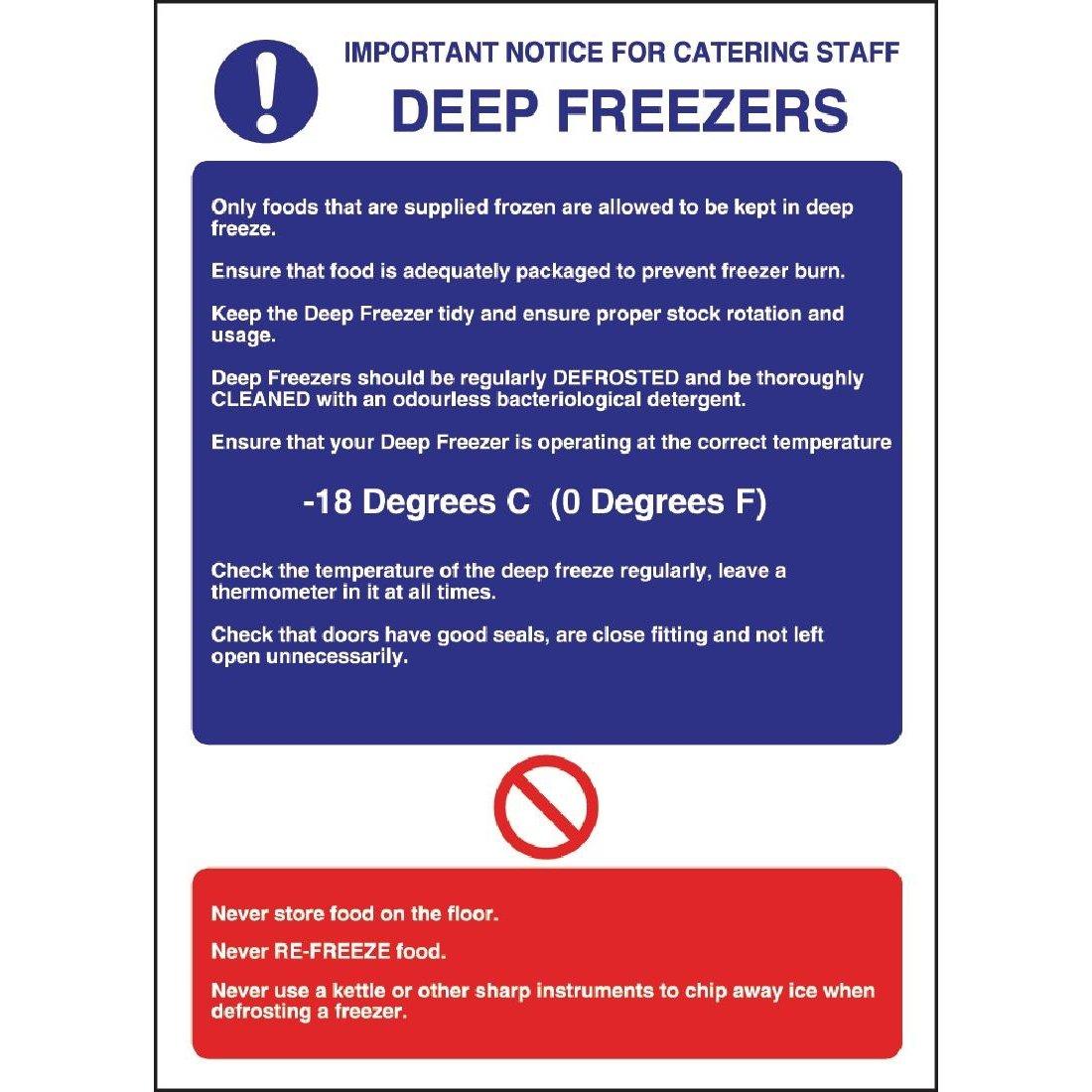 Catering aparato W195 de profundidad congelador directrices Sign ...