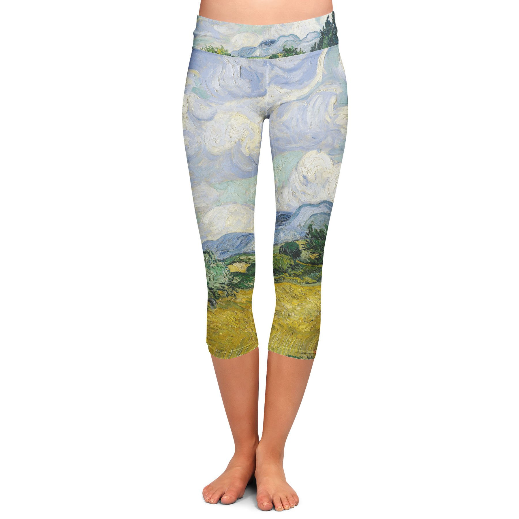 Vincent Van Gogh Fine Art Painting Yoga Leggings - Capri 3/4 Length, Low Waist