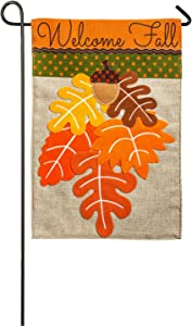 Evergreen Flag Fall Leaves Burlap Garden Flag - 12.5 x 18 Inches Outdoor Decor for Homes and Gardens