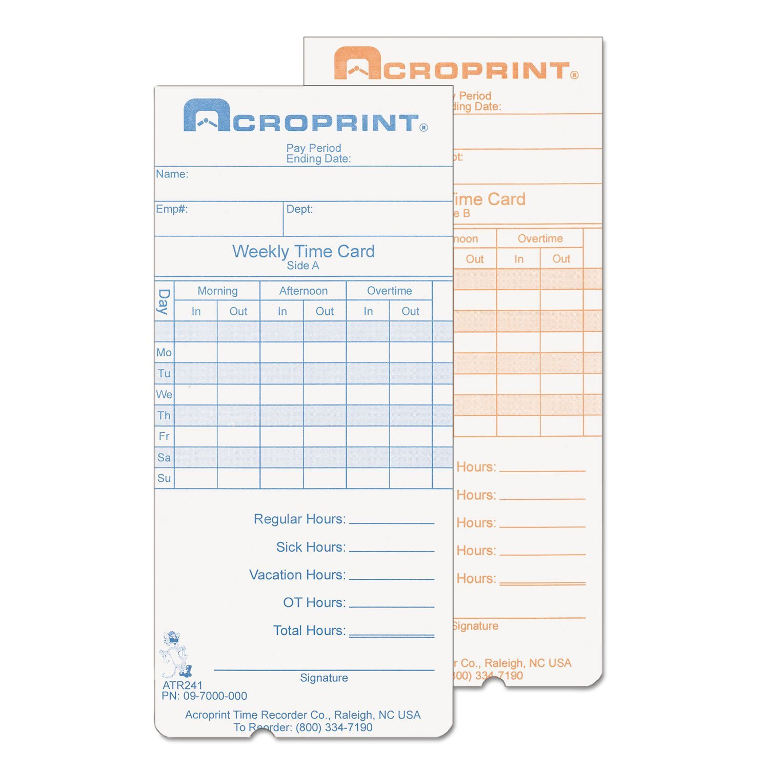 Acroprint Weekly Time Cards for Atr240 and Atr260, 250 per Pack (097000000)