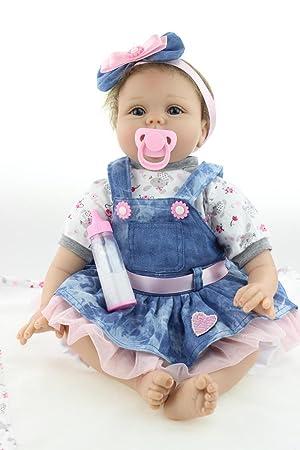 Amazon.es: OUBL 22pulgadas 55 cm Ojos Abiertos Doll Silicona ...