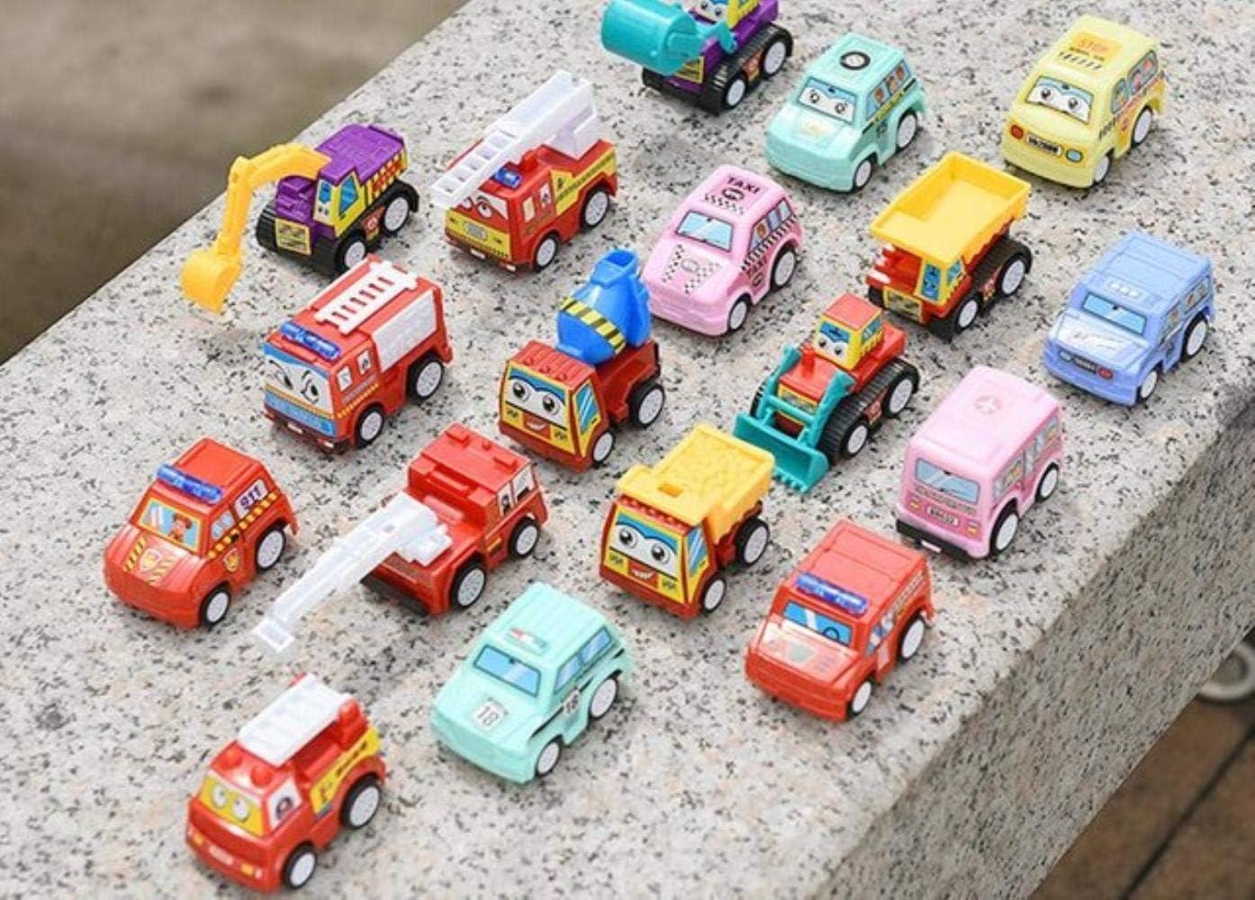 DGJEL 6pcs Pull Back Car Toys Tienda de maquinaria móvil Vehículo de construcción Camión de Bomberos Taxi Modelo Baby Mini Cars Regalo Juguetes para niños, 1pcs en Estilo Aleatorio